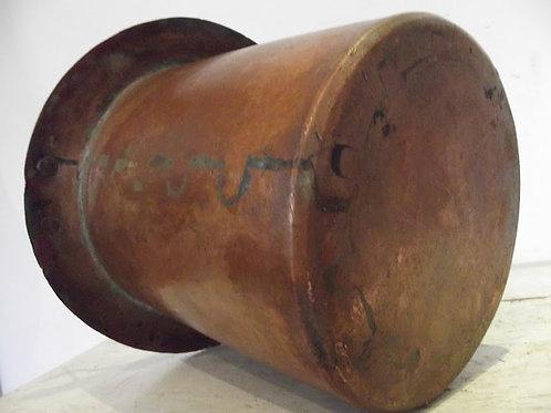 ancien seau cuivre martelé queue d'aronde soudure