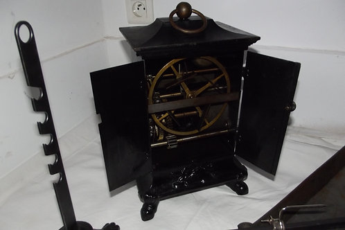 rare ancien gros tourne broche régulateur bronze lèche frite lardoirs