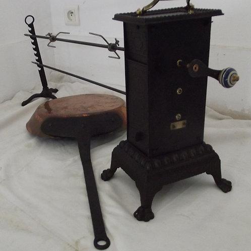 tourne broche de cheminée rôtissoire mécanique ensemble complet ancien