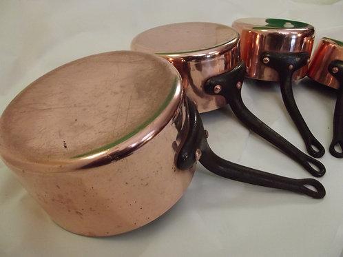 dinanderie ancien série 5 casseroles cuivre étamé martelées estampillées