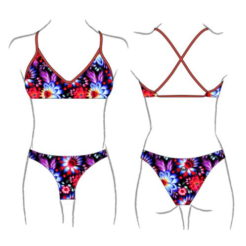 Turbo Swim - Bikini - Swimkini - Black Flower - 43091027