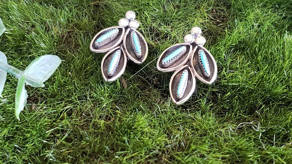 Vintage Native American Zuni Leaf Earrings