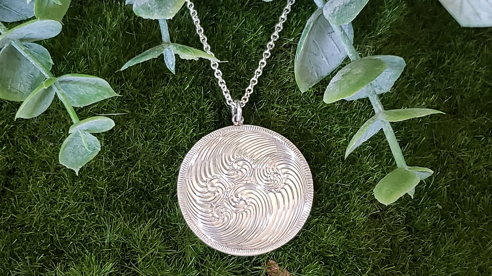 Round Bright Cut Sterling Silver Necklace