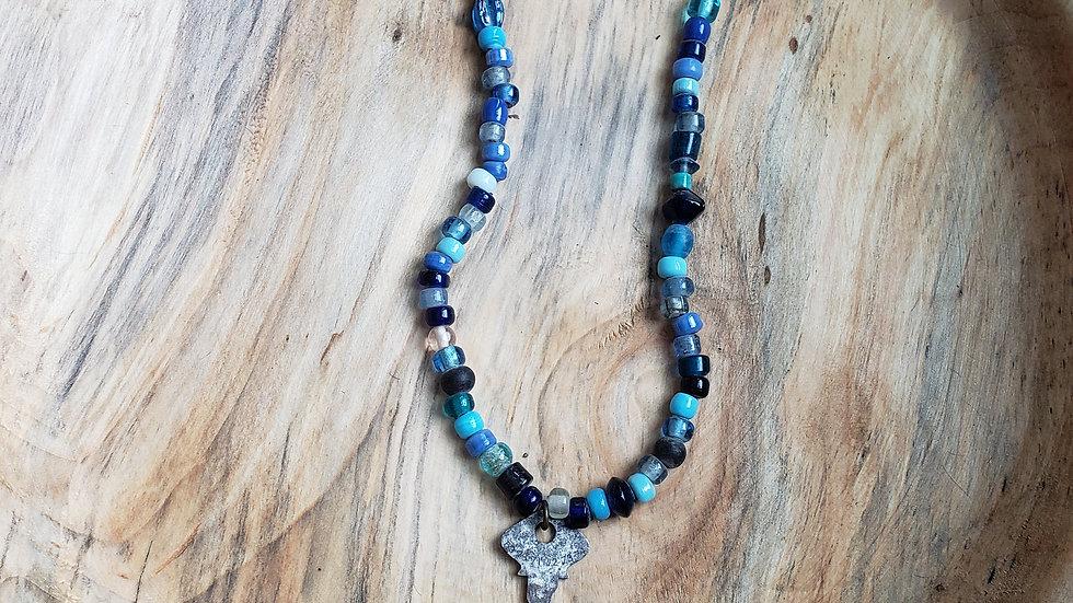 Blue Jay Key Necklace