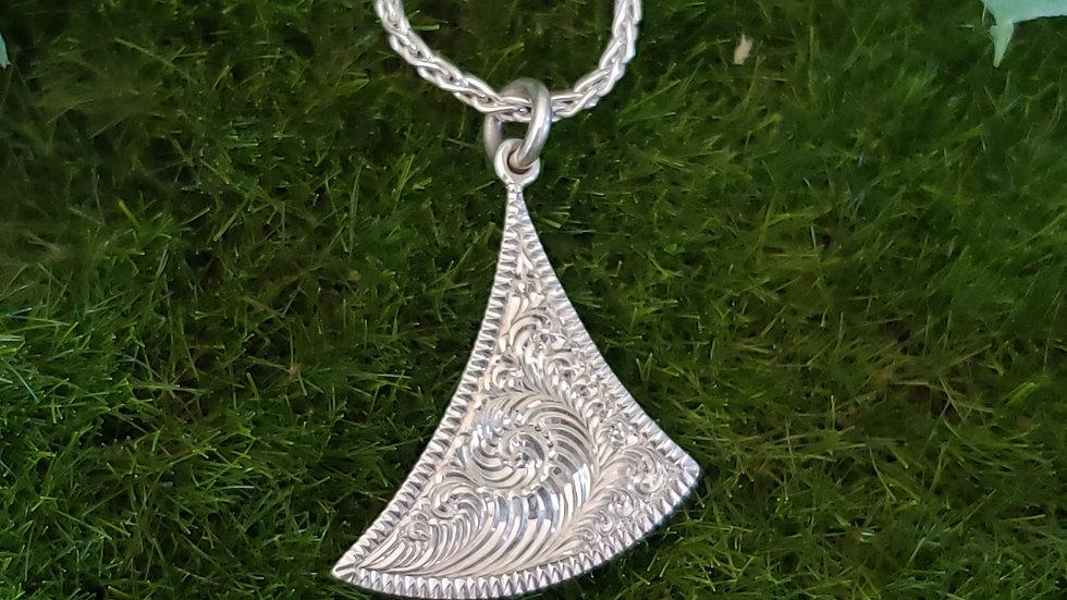 Sterling Silver Triangle Bright Cut Pendant