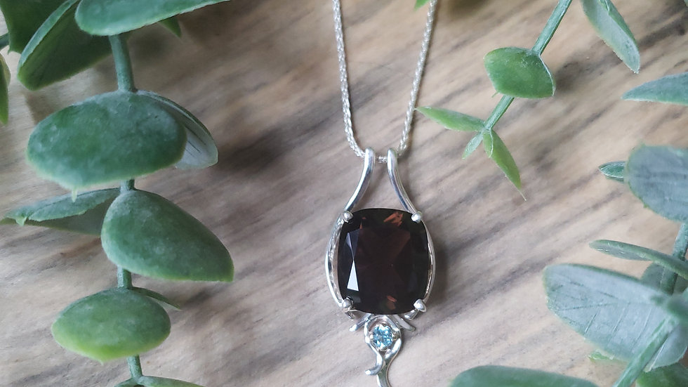 14k Smokey Quartz + Topaz Necklace