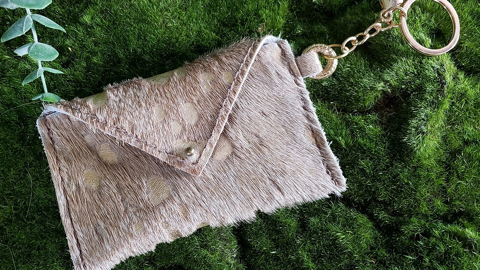 Champagne & Gold Cowhide Card Holder Keychain