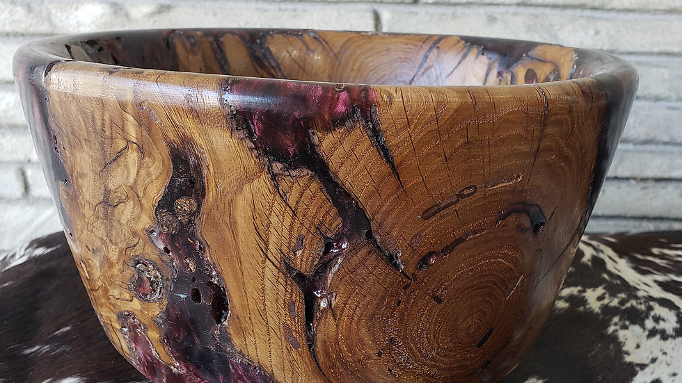 Wine Resin Oak Bowl
