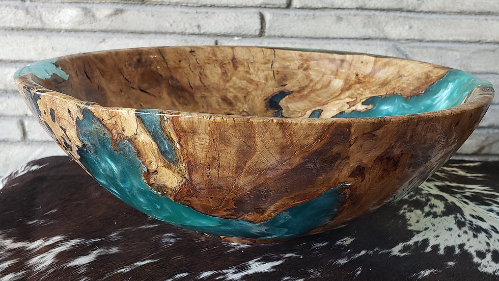 Turquoise Resin Iowa Oak Bowl