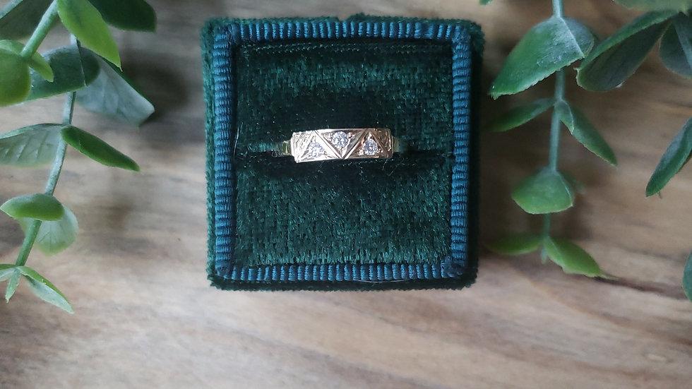 14k Geometric Diamond Stacker Ring