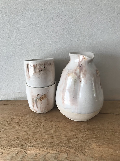 Bottle and two sake cups