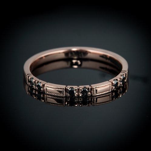 Black diamond 14k rose gold ring