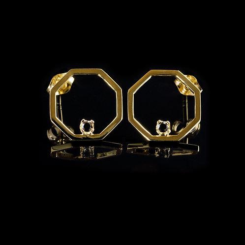 14 karat gold earrings with 2x 0.02 carat black diamonds