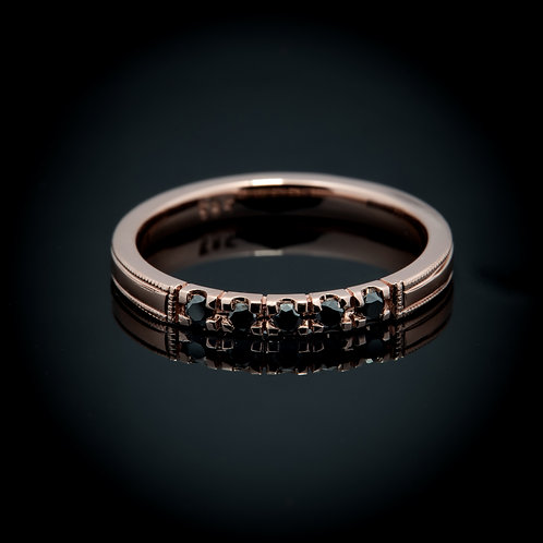 Black diamond 14k rose gold ring