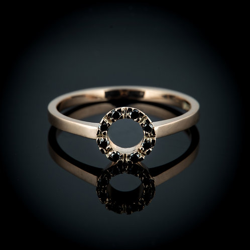 Black diamond 14k gold ring