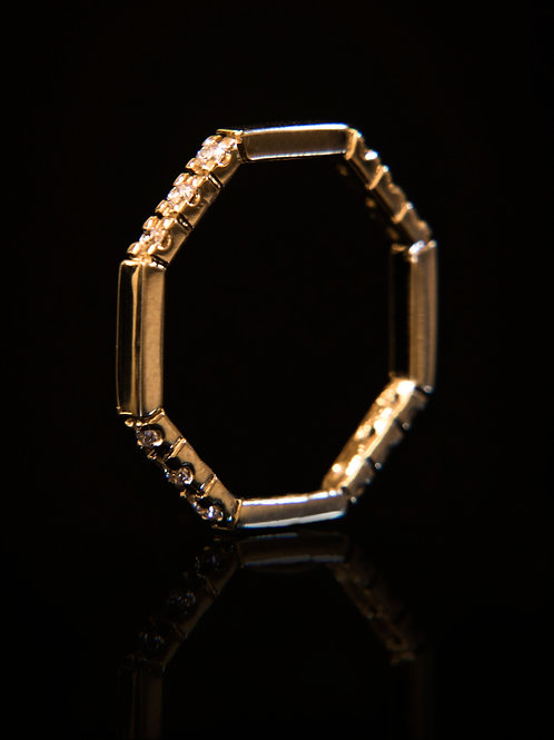 14k yellow gold octagon ring with diamonds