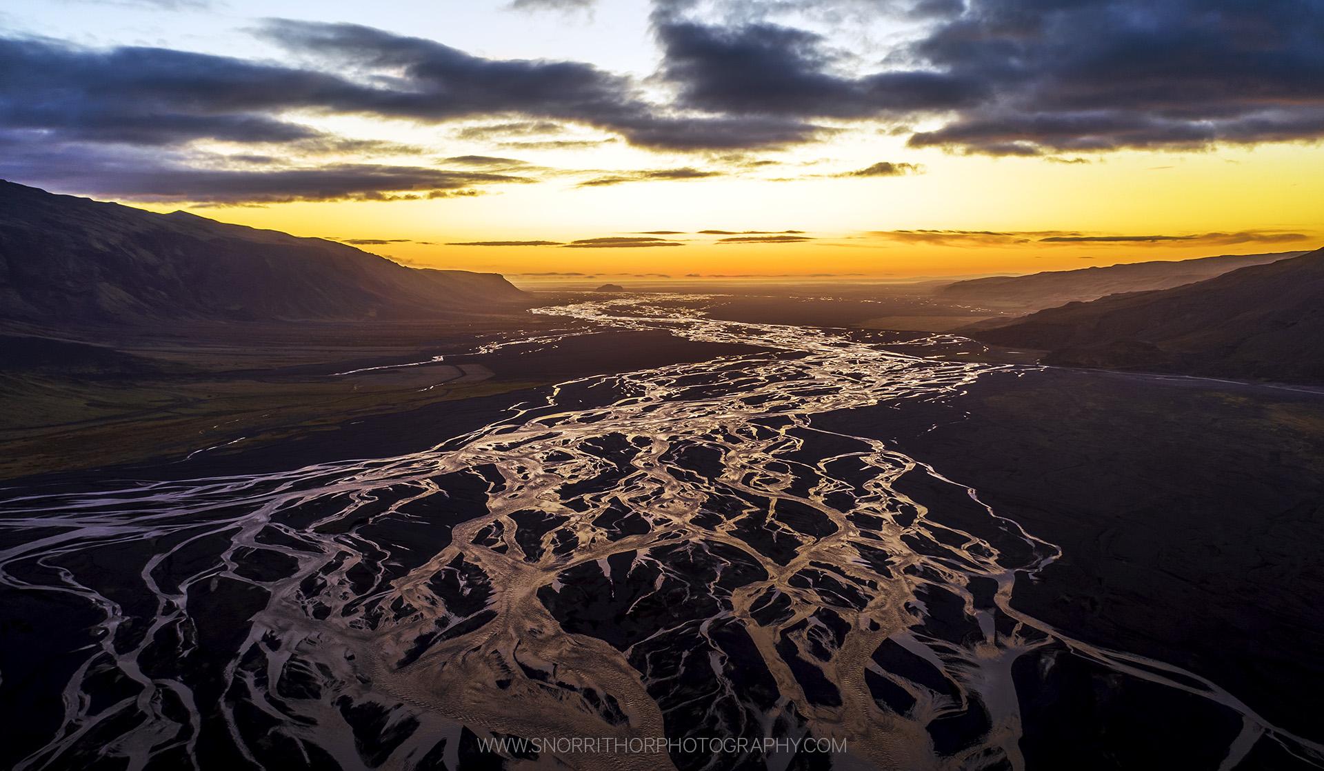 Glacier river sunset