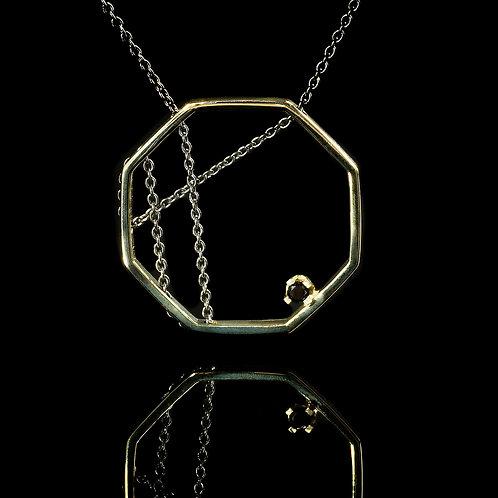 14 karat gold necklase with 0.03 carat black diamond