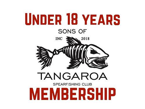 Under 18 membership (half price @ $50p.a). Pro rata Jan -Mar $12.50
