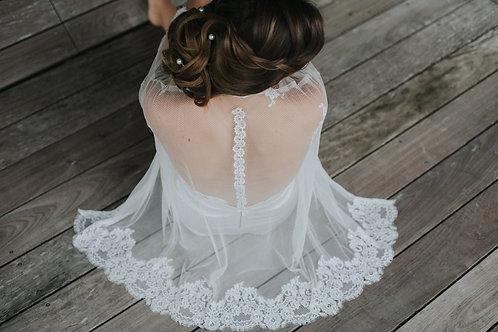 Perle - Kimono en tulle & dentelle de Calais lingerie mariage