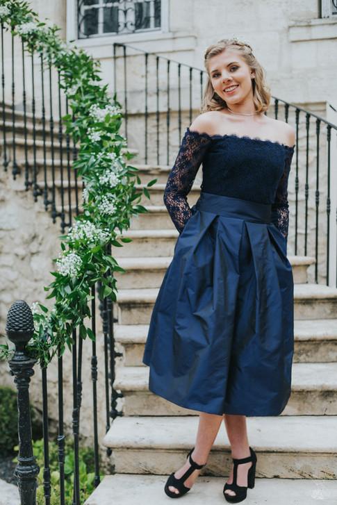 robe de cocktail bleu marine