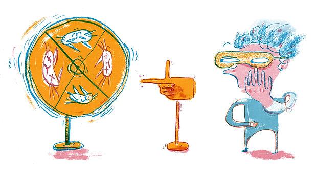 Shrodingers quantum Wheel of physics fortune vignette illustration by joseph namara hollis