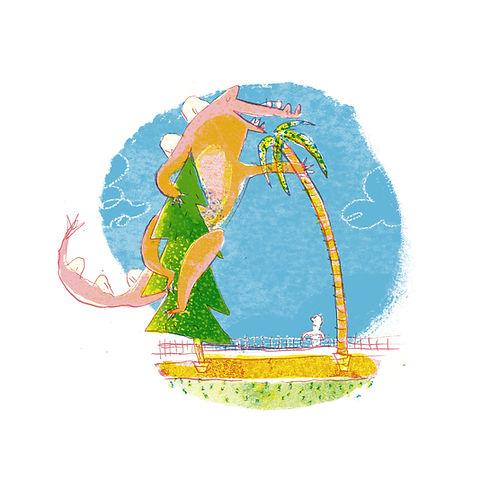Vegan Permaculture Dinosaur pet illustrated by joseph namara hollis