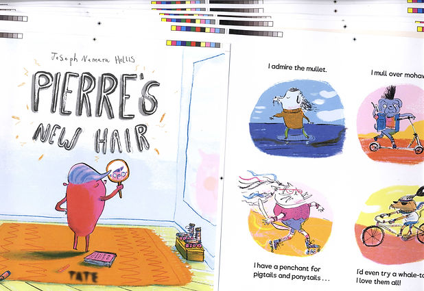 Pierre's New Hair children's picture book proofs illustration and author joseph namara hollis