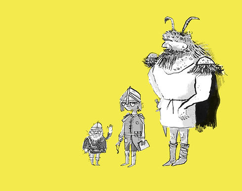Monster hunting trio character development drawings illustrated by joseph namara hollis