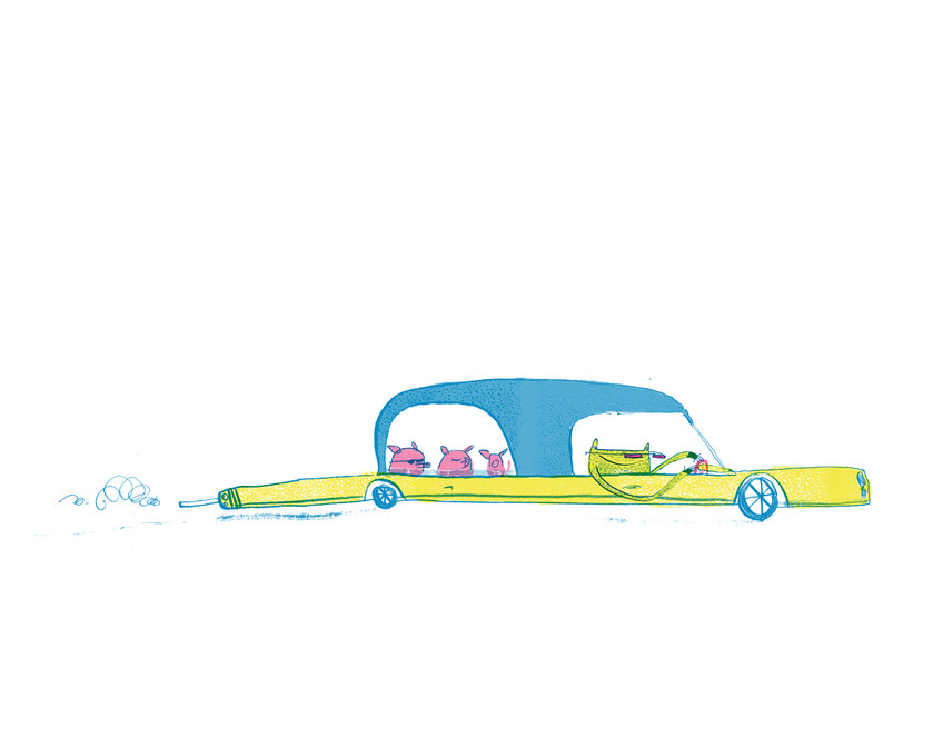 Three little pigs illustration by Joseph Namara Hollis