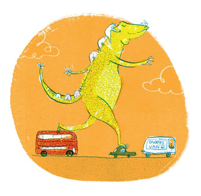 dinosaur rush hour illustration