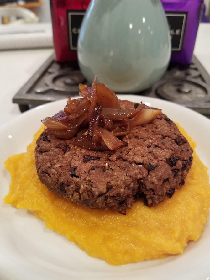 Spiced Black Bean Burgers with Caramelized Onions, Over Coconut Sweet Potato Puree