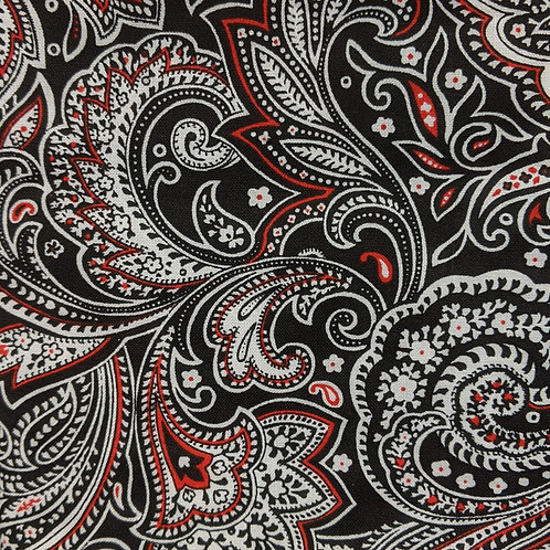 #133 - Black/White/Red Paisley