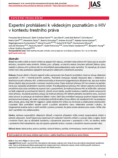 Expert consensus statement on the science of HIV in the context of criminal law