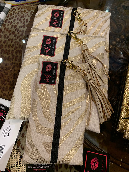 Makeup Junkie Bags Gold Zebra