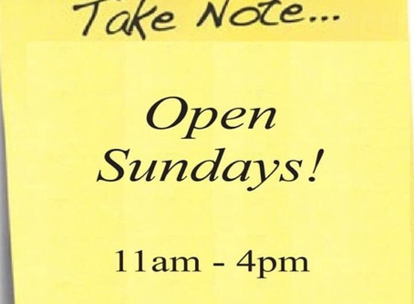 We are now open Sundays! This Sunday all 50% Off Merchandise is another 20% Off!
