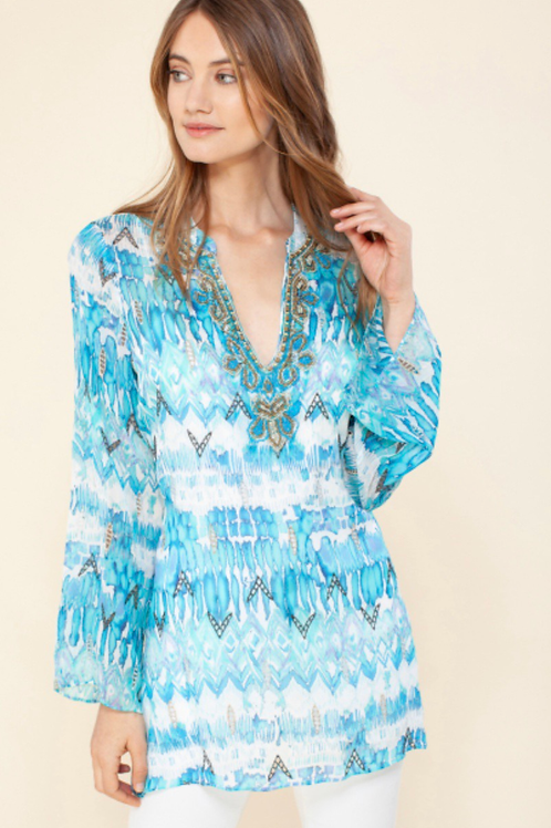 Hale Bob Leonie Turq Beaded Tunic