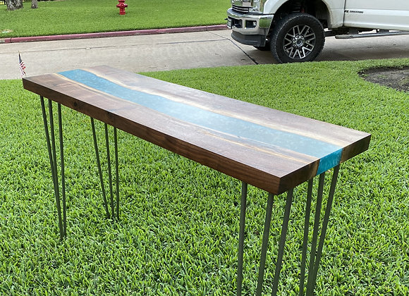 Walnut Turquoise Resin River Sofa Table