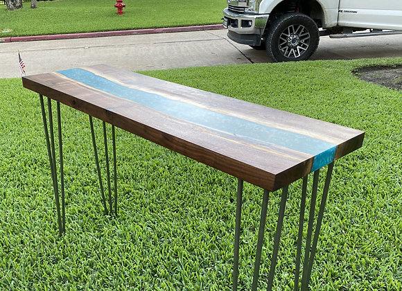 Walnut Turquoise Resin River Sofa Table