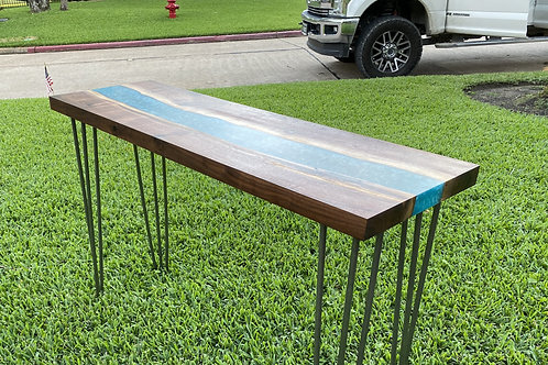 Walnut Turquoises Resin River Sofa Table