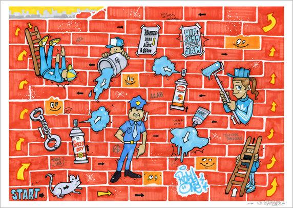Graffiti and Ladders Print
