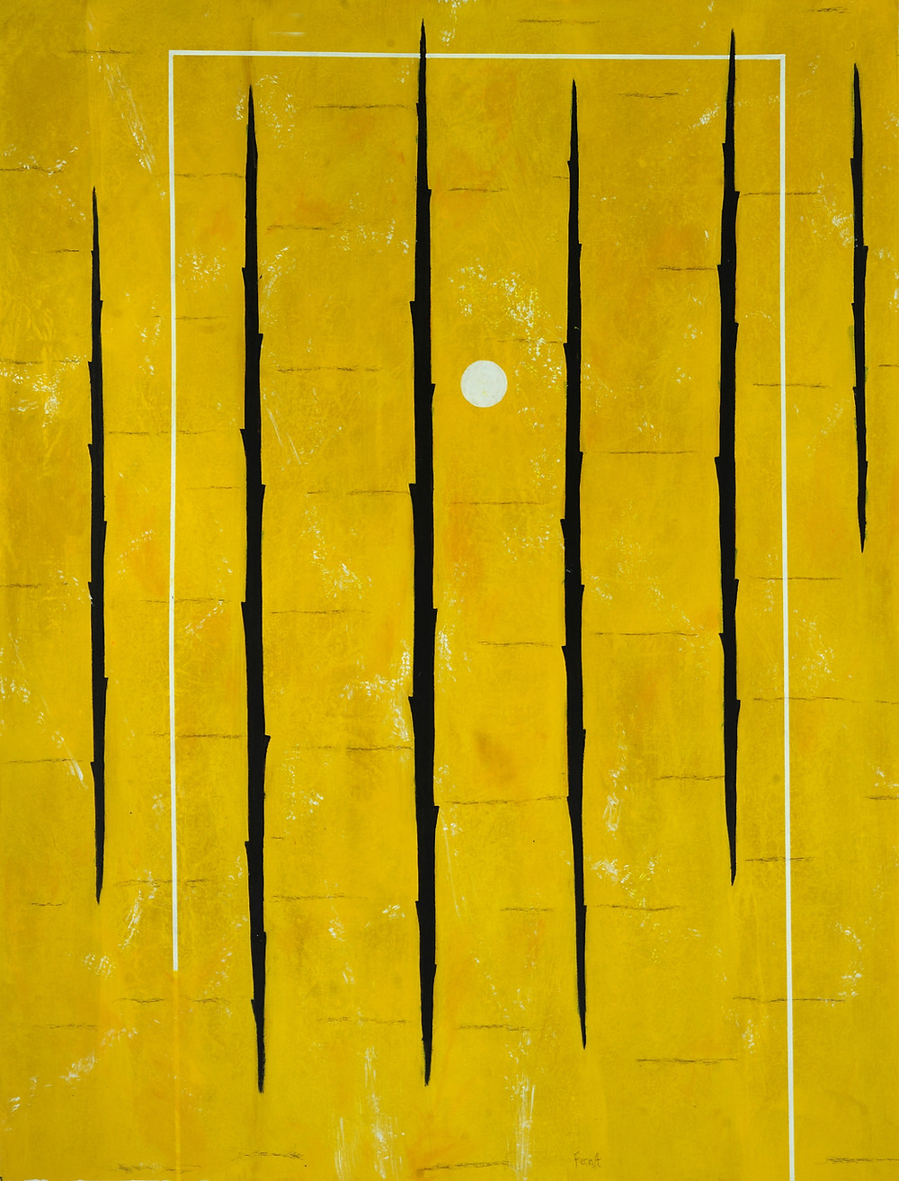 Stakes in Yellow, 2019, acrylic on canvas, 66 x 50 in (168 x 127 cm)