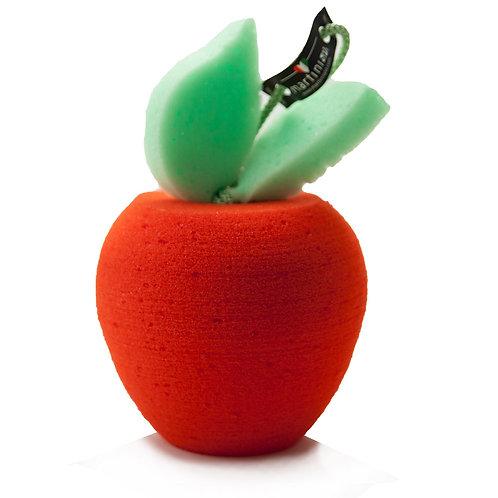 Eponge Pomme rouge avec deux petites feuilles vertes. Collection Fruits à croquer