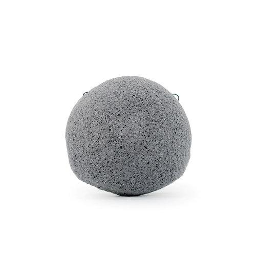 Eponge de konjac au charbon de bambon grise et ronde pour le visage