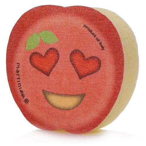 Eponge Emoticône Pomme rouge yeux cœurs. Collection Emoticône Fruits