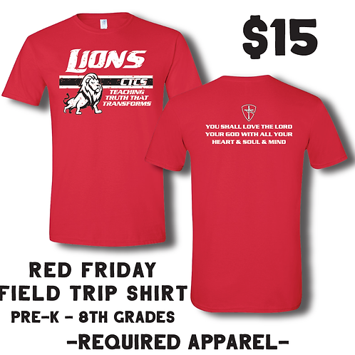 Required: Red Friday/Field Trip Shirt PK-8th