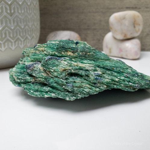 Natural Blue Kyanite Crystals in Green Fuchsite Matrix Specimen