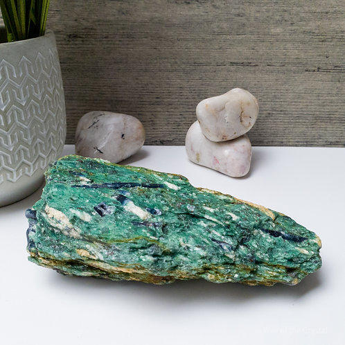 Natural Blue Kyanite Crystals in Green Fuchsite Matrix specimen