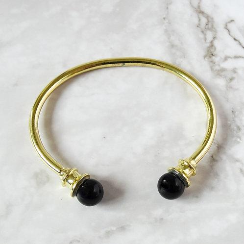 Obsidian Black Brass Bangle