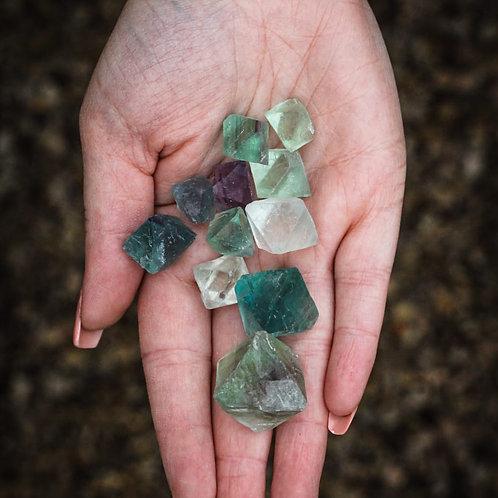 Fluorite Octahedron stones x 3